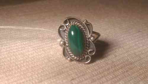 Indianer Schmuck Ring Finger Gr. 18,4 Sterling Silber Grüne Türkise Unikat Fingerring
