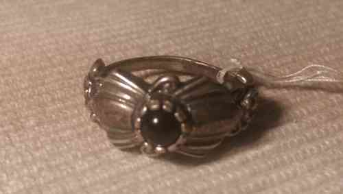 Indianer Schmuck Ring Finger Gr. 19 Sterling Silber Onyx Unikat Fingerring