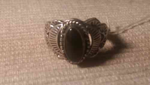 Indianer Schmuck Ring Finger Gr. 18,2 Sterling Silber Onyx Unikat Fingerring