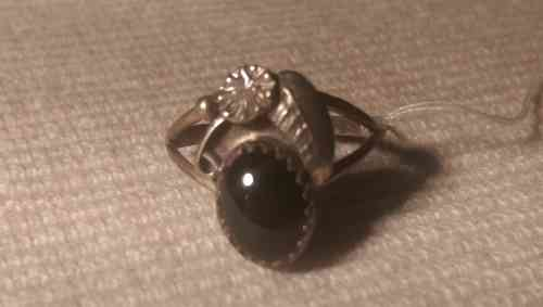 Indianer Schmuck Damen Ring Finger Gr. 17,7 Sterling Silber Onyx Unikat Fingerring