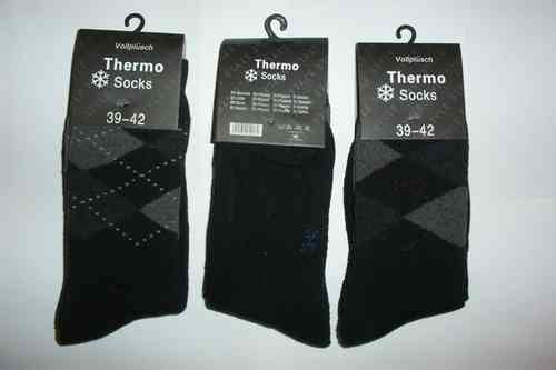 3 Paar Thermo Socken Damen Herren Vollplüsch Wintersocken Thermosocken Made in GB